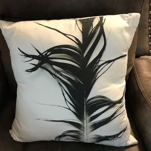Other - Accent Pillow with black feather design, nwot